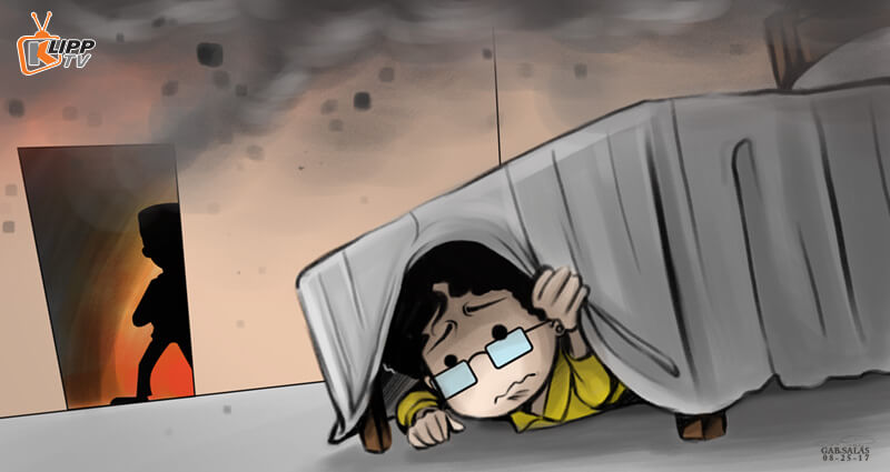 Girl hinding under the bed from black shadow