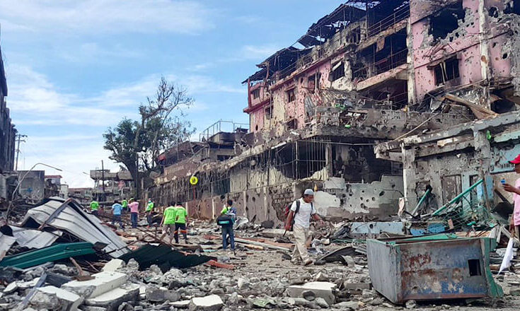 Destroyed Facilities and houses due to the battle at marawi Philippines