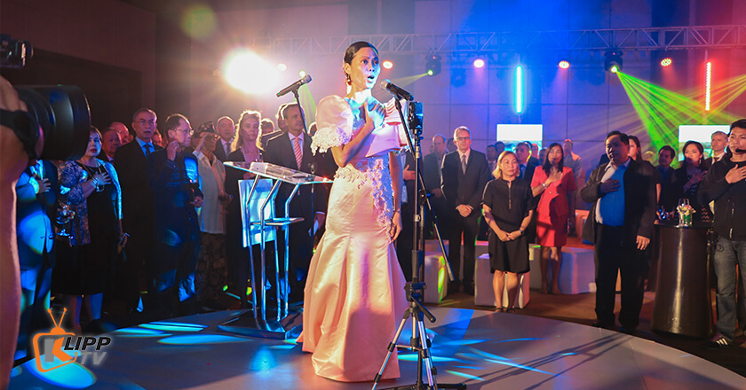 a beautiful lady singing