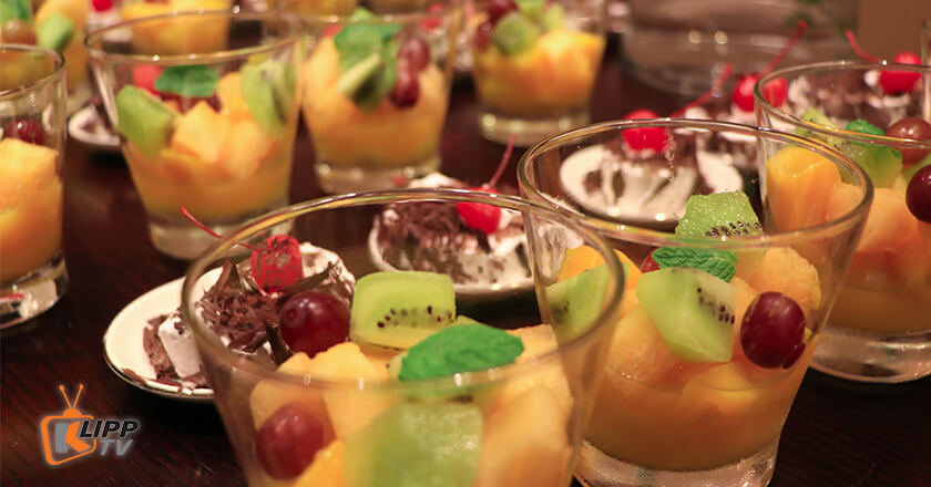 glass with fruit dessert