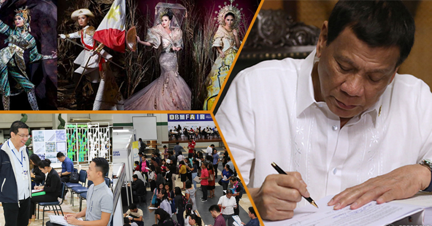 Beauty pageant contestants pose for a shoot, jobseekers at a job fair, and Philippine President Duterte signs laws