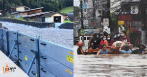 flood barrier and flooded people